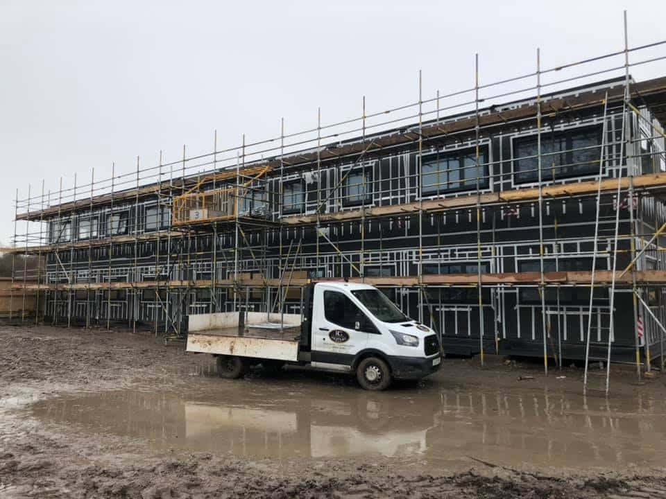 The RG Scaffolding Van on location, prime and ready for action at Solihull College