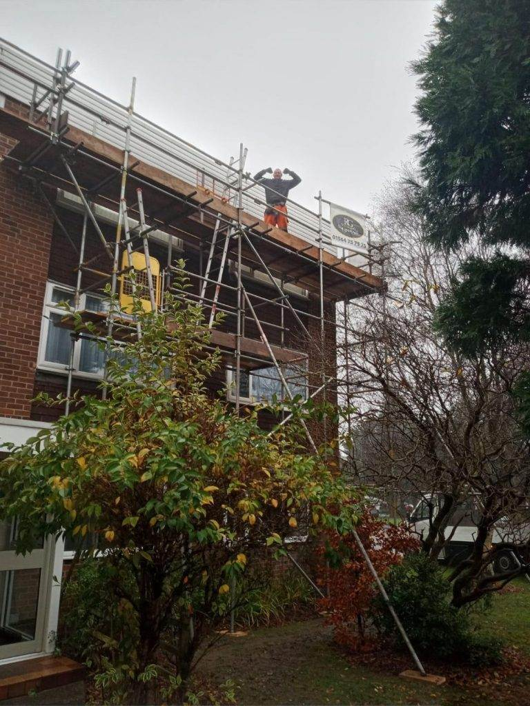Hello, what are you doing up there? Our scaffolding team on an emergency job in Solihull
