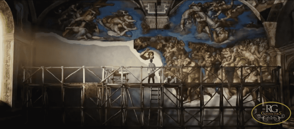 Michelangelo created a special type of scaffolding